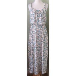 Ann Taylor LOFT Maxi Dress cheetah aqua petite SP